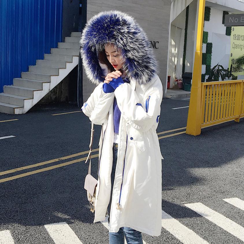 Winter fashion brand good quality big real fur collar duck   down     coat   female zipper stitching long hooded warm   down   parkas wq158