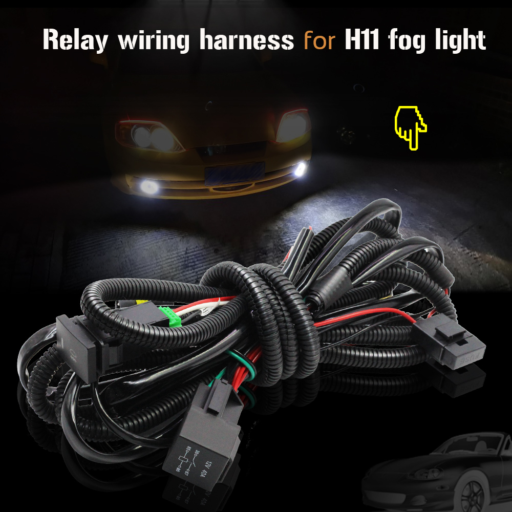 Buildreamen2 Car Fog Light H11 Wiring Harness Fuse Relay Cable Switch on