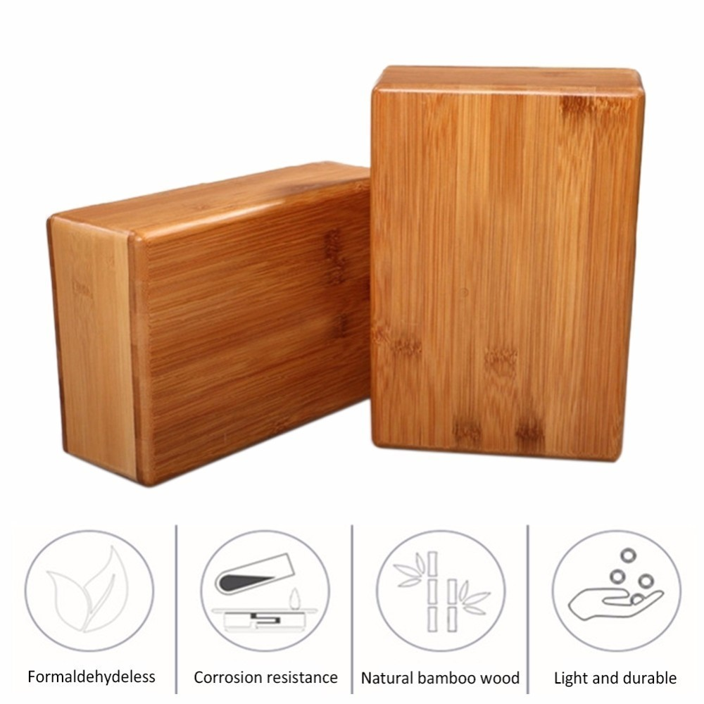 1pcs Natural Bamboo Yoga Block Pilates Non-slip Handstand Yoga Gym Home Fitness Workout Gymnastics Training Brick To Ensure A Like-New Appearance Indefinably