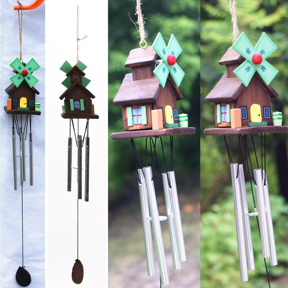 Outdoor hanging ornaments - Unique Windmill Log Cabin Hanging Oranament Wind Chimes Home Decor Outdoor Yard Copper Metal Wood Crafts
