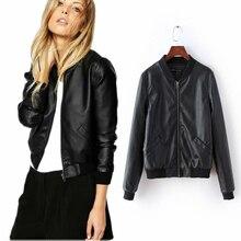 Basic Bomber Jacket Faux Leather Jacket Women 2016 Spring Jacket Women Black Slim Motorcycle Jackets Casual Ladies Streetwear