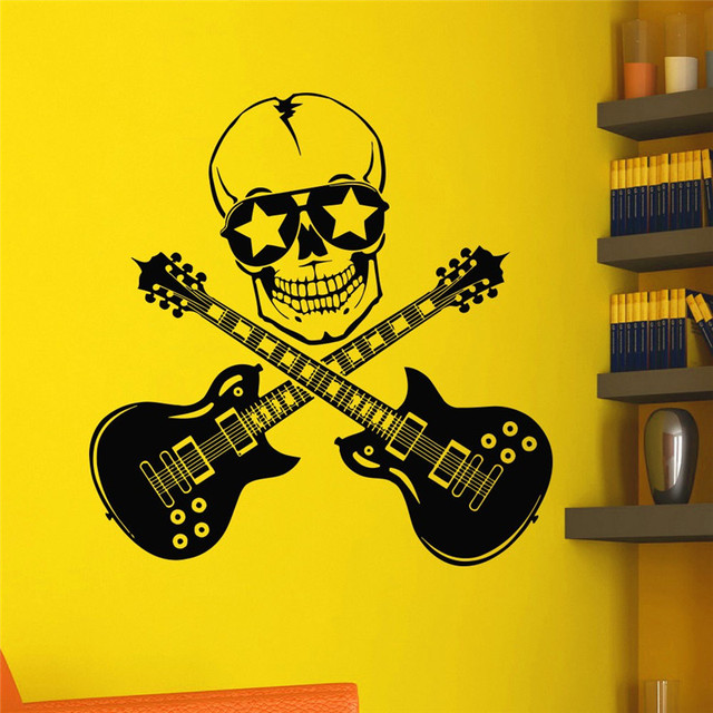 Rock Art Creative Designed Wall Stickers Double Guitars With Skull