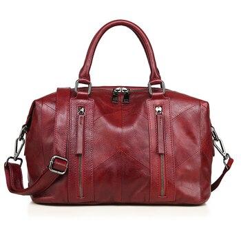 Genuine Leather Women Handbag Casual Handbags Top Quality Double Zipper Pocket Boston Shoulder Crossbody Bag Woman Bags 2018 - DISCOUNT ITEM  14% OFF All Category