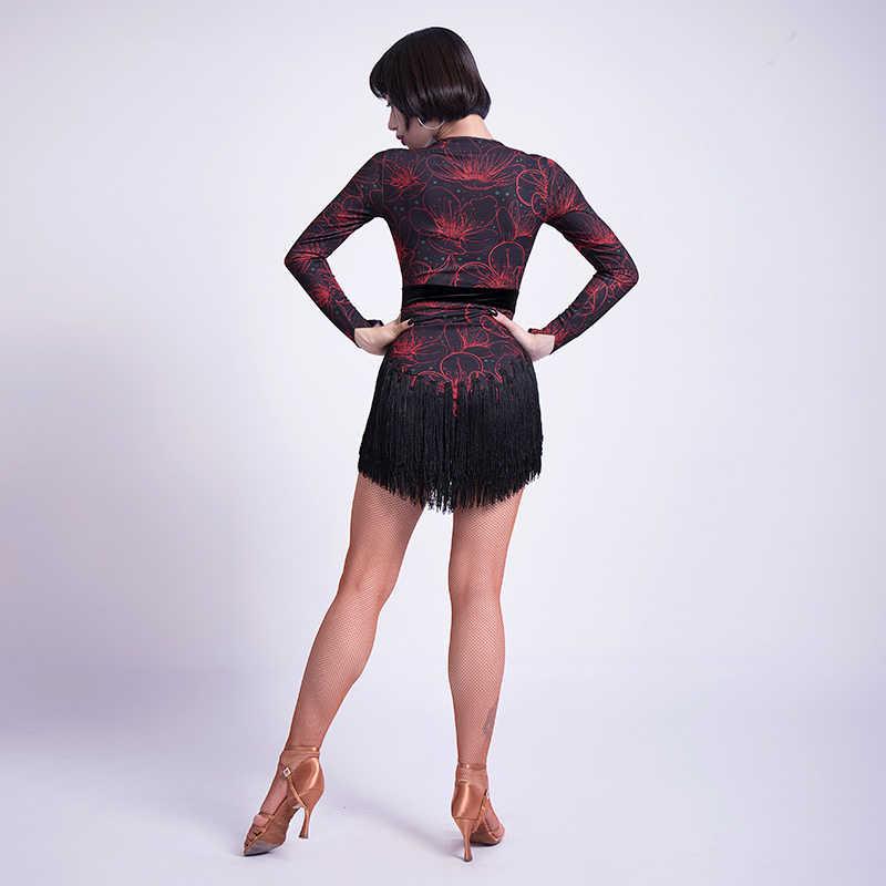 3bf6420b5431 ... 2019 New Fashion Latin Dance Dress Women Sexy V Collar Ballroom  Competition Tassel Dresses Cha Cha ...