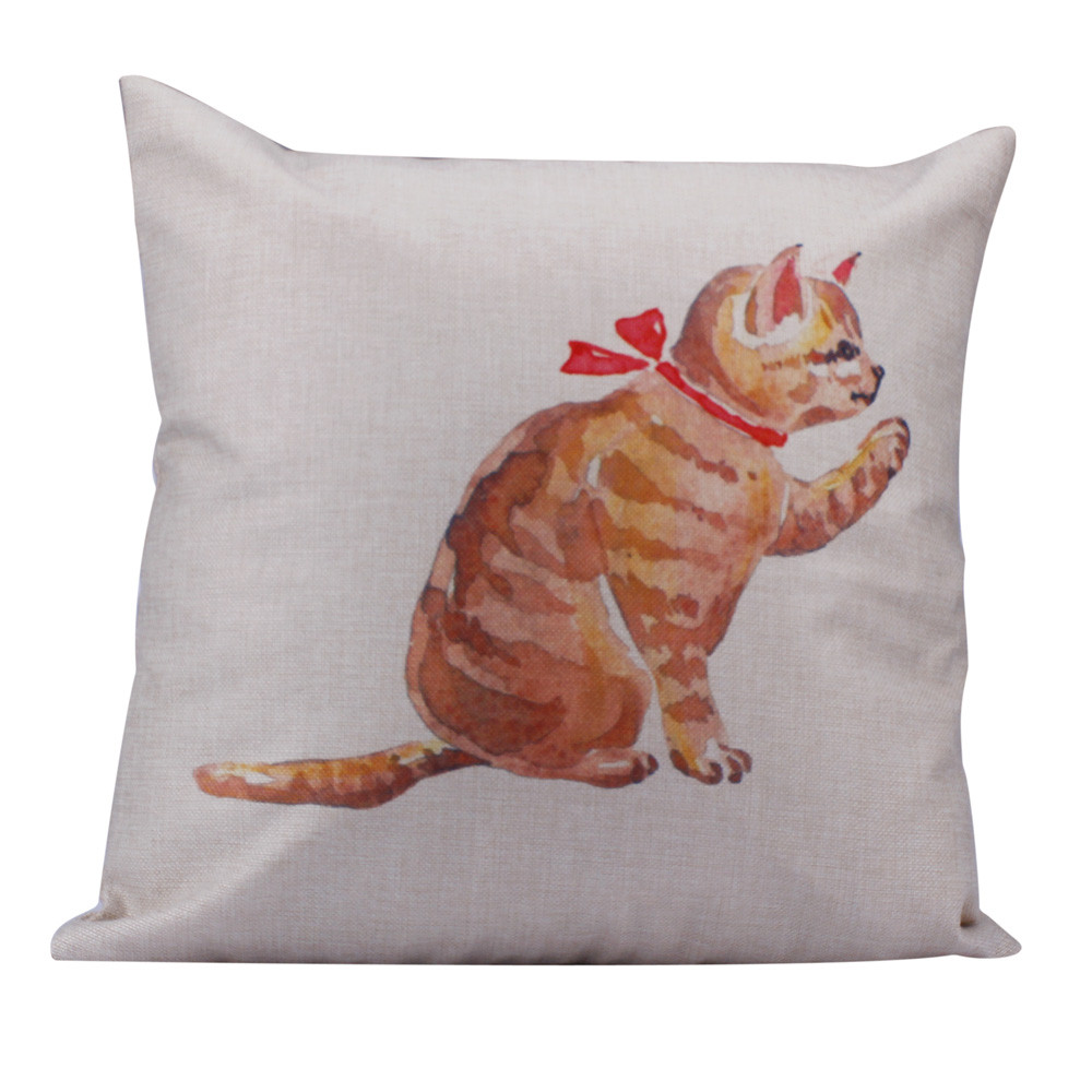 Pastoral Life Store Ouneed hot selling Linen Square Cats printing Throw Flax Pillow Case Decorative Pillow Jun30 Extraordinary