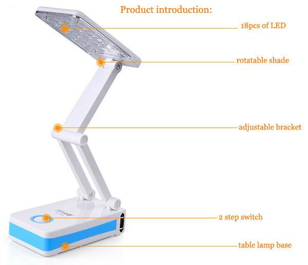 LED 685 SMD LED Foldable Desk Lamp, built in battery LED