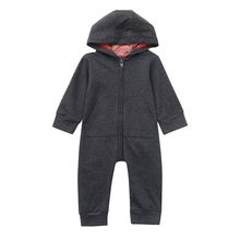 Toddler Newborn Baby Solid Color Long Sleeved Hooded Zipper Romper Jumpsuit Clothes Winter Thick Warm Cashmere Sweater(China)