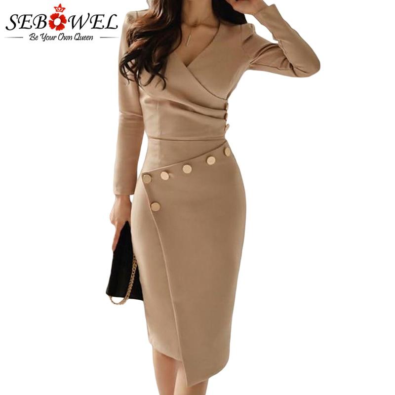 SEBOWEL Elegant Khaki Button Bodycon Midi Dress Women Long Sleeve Sexy  Ruched Evening Gown Lady Asymmetrically 2871143cb26d
