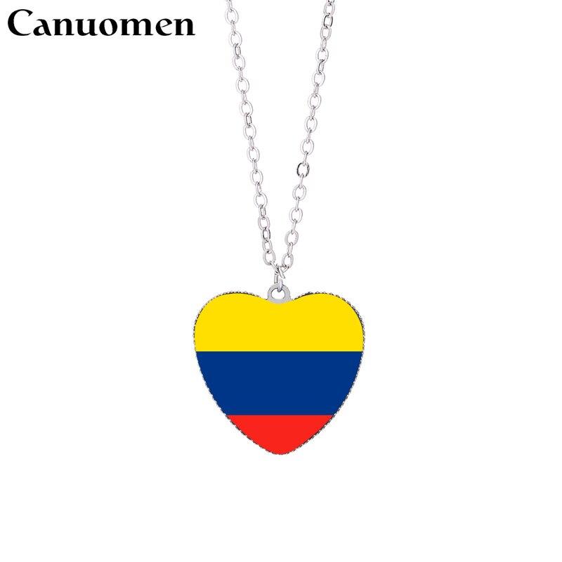 65a7eb750c Canuomen colgante de la bandera de la República de Corea collares 25mm  cabujón de cristal del corazón Colombia Panamá banderas patrióticas mujeres  encanto ...