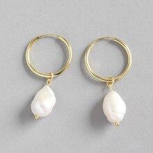 Pure S925 Sterling Silver Drop Earrings Women Round Geometric Irregular Baroque Freshwater Pearl Hook Dangle Earring Ear Drops