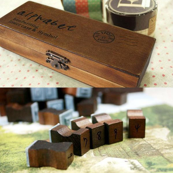 anglais cursive digital english stamp wooden alphabet digital letters vintage wooden gift box seal combination 42 lowercase