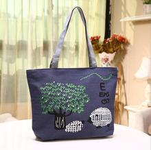 Freies Verschiffen Leinwand Einkaufstaschen Handtasche Persönlichkeit vertraglich große Tasche Doppel Seil Schulter Tasche für Frau tragen Muster