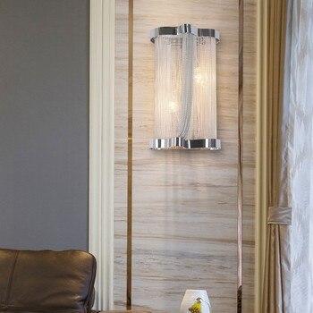 โมเดิร์นอลูมิเนียมโซ่โคมไฟวิศวกรรมการออกแบบสุดหรูพู่โซ่อลูมิเนียมโคมไฟข้างเตียงไฟ (BK-59)
