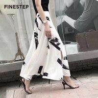 Ботильоны Длина брюки для Для женщин Высокая талия широкие штаны Для женщин Элегантный Черный и белый Широкие штаны