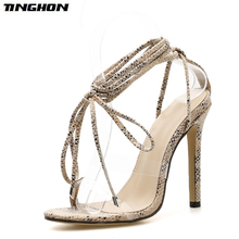 TINGHON Summer Fashion Sandals Sexy Women Cross Strap Lace Up Open Toe Leopard Stiletto Heels High Heel Party Shoes Size 35-40