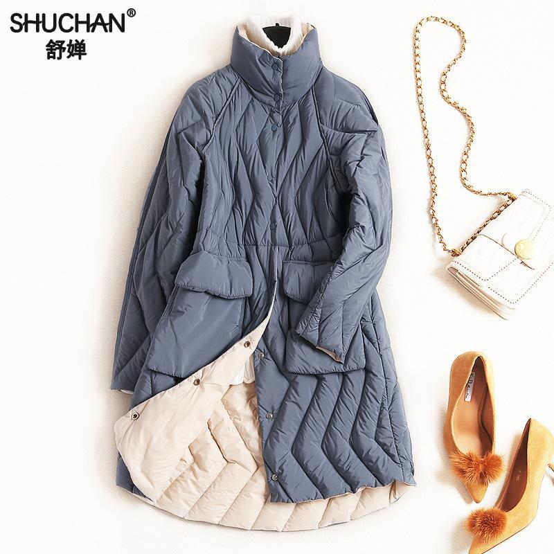 Shuchan Women's   Down   Jacket Stand Neck Thin 80% White Duck   Down   Parka Warm Winter   Coat   Women Outerwear Blue Green Red 7538