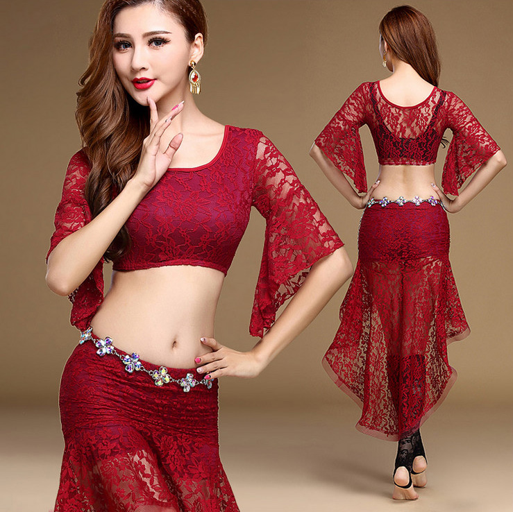 1b4a532d4c0c Buy Online Lace Oriental Eastern Belly Dance Costumes Set Tops Mermaid  Skirts for Sale Women Bellydance Indian Dancing Clothes Dancer Wear For  Sale at ...