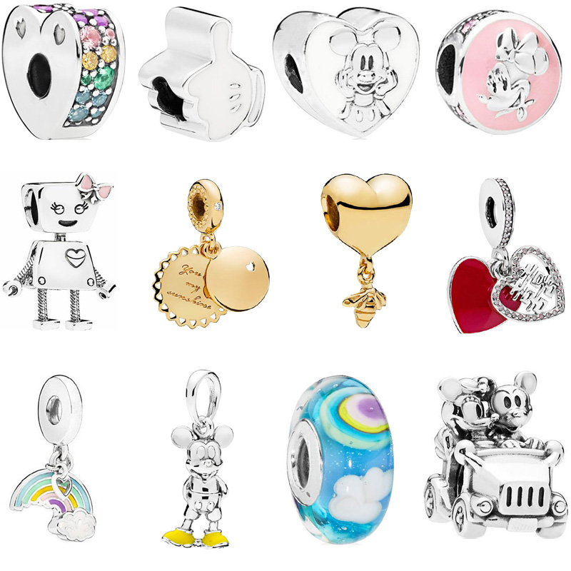 Boosbiy 2pcs/lot 2018 New Silver Plated Love Mickey Bees Charm Bead Fits Pandora Charms Bracelet For Women DIY Accessories Gift