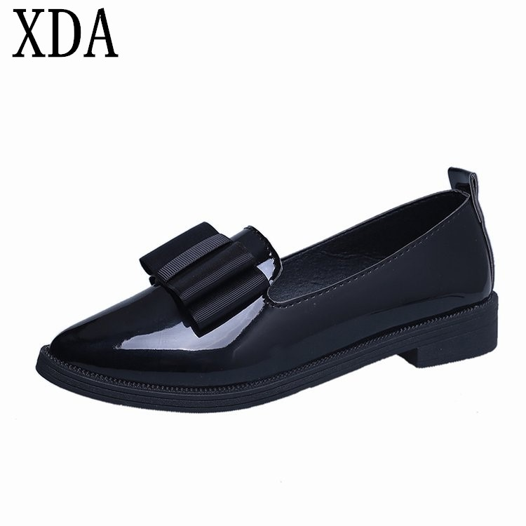 XDA 2018 Classic Shoes Women Casual Pointed Toe bowknot Oxford Shoes Women Flats Comfortable Slip on Women Shoes F10 cresfimix women cute spring summer slip on flat shoes with pearl female casual street flats lady fashion pointed toe shoes