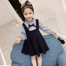 2019 Girls Striped Fashion Dress Long Sleeve Kid Spring Summer Clothes Patchworking Dresses long sleeve girls dresses double breasted children denim dress kid spring summer clothing new fashion clothes free drop shipping