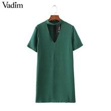 women sexy cut out V neck dress short sleeve mini dresses solid black green ladies summer casual streetwear vestidos QZ2628