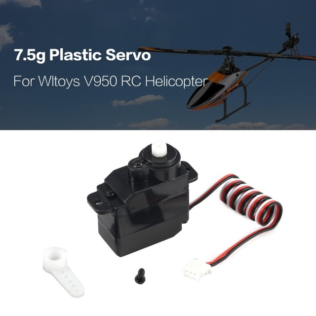 7.5g Plastic Gear Analog RC Servo 4.8 6V for Wltoys V950 RC Helicopter Airplane Part Replacement Accessaries