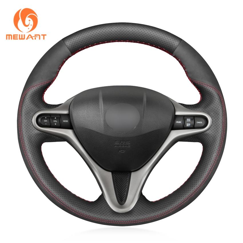 MEWANT Black Genuine Leather Non slip Soft Car Steering Wheel Cover for Honda Civic Civic 8