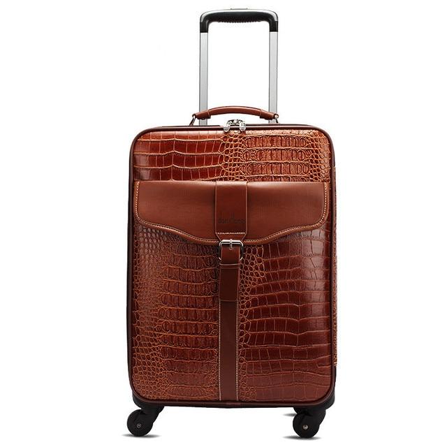 New fashion style vintage 22inch pu leather travel luggage bag on universal wheel,men and women black trolley luggageFGF-0004-22