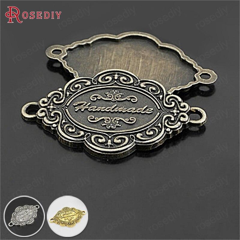 (27349)20PCS 41x26MM Antique Bronze Zinc Alloy Handmade Bracelet Connector Charms Diy Jewelry Findings Accessories Wholesale