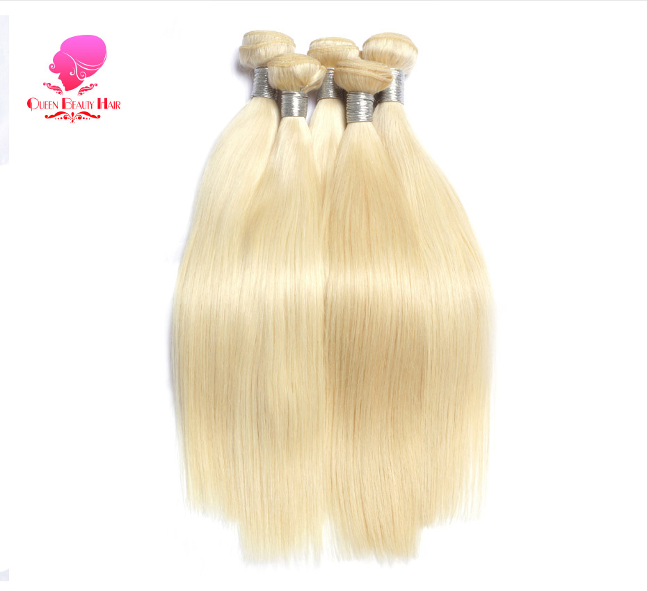 HTB13JPVf2BNTKJjy0Fdq6APpVXaZ QUEEN BEAUTY 613 Blonde Straight Brazilian Hair Weave Human Hair Bundles with Closure 3PC Remy Hair and 1PC Lace Frontal Closure