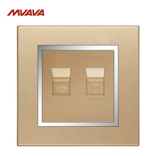MVAVA RJ45 PC Network + RJ11 TEL Socket Luxury Chromed PC Gold Plug Port Universal Phone and Computer Wall Outlet Free Shipping