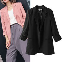 Women Casual Suit Lapel Three Quarter Length Sleeve Tripped With Decoration Front Pocket Blazer Suit Jacket