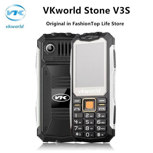 Original Waterproof Shockproof Dustproof Mobile Phone VKworld Stone V3S Physical Keyboard Dual SIM LED Lights Elder Cellphone