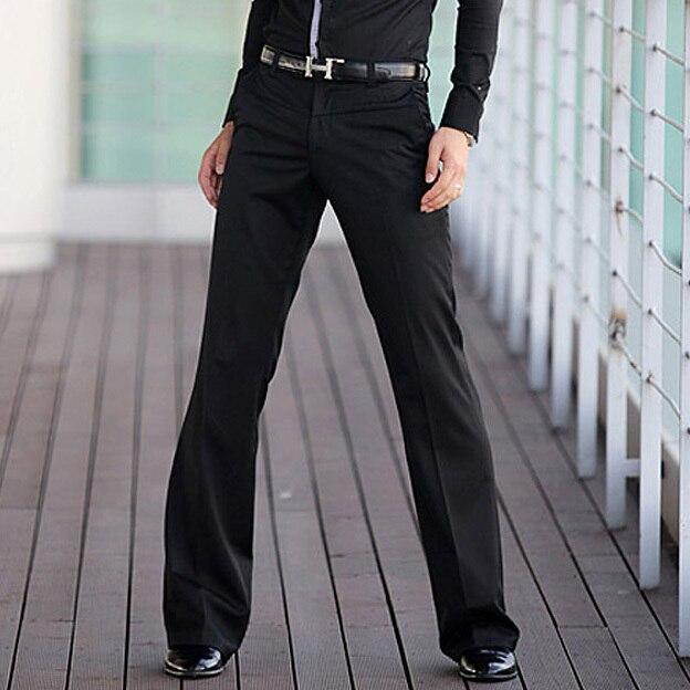Осенью и Весной Мужские коммерческие случайные штаны Ракетницы брюки мужской расклешенных брюки Танцы брюки Черный