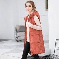 2018 New Winter Long vest women Thick Warm Autumn big pocket hooded waistcoat Casual Solid cotton padded sleeveless jacket coat