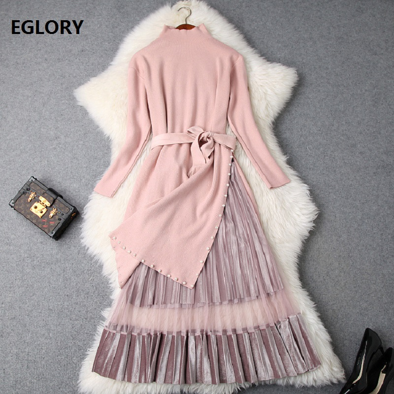 New Korean Clothing Suit Sweaters Women Pearl Beading Split Dress Sweater+Hollow Out Mesh Patchwork Velour Skirt Suit & Sets