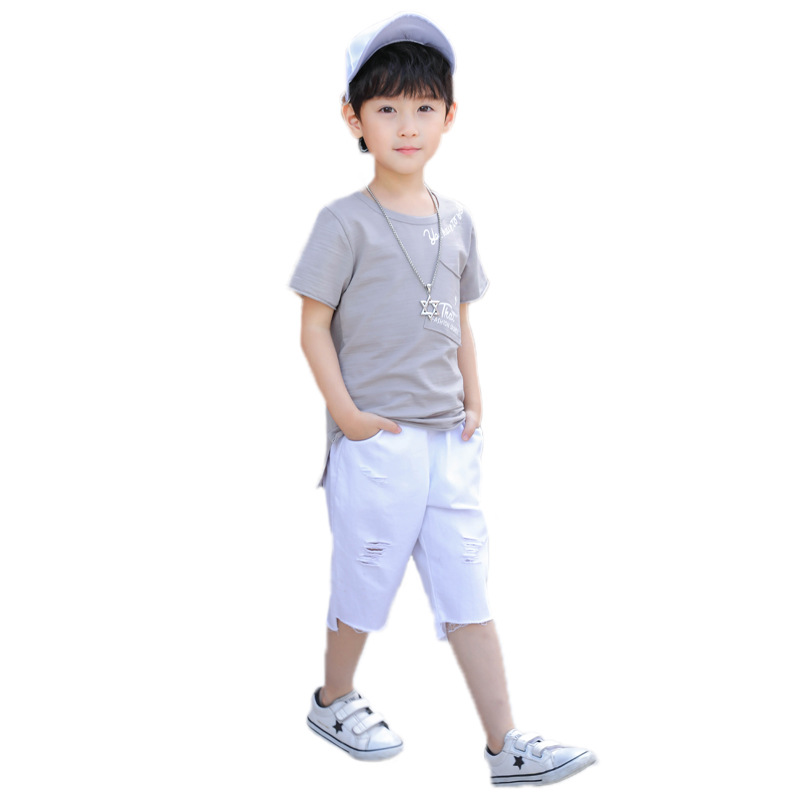Baby Boy Summer Clothes Set 2018 Children Clothing Short Sleeve Shirt + Ripped Pant 2pcs Kids Boys Sports Suit Jongens Kleding