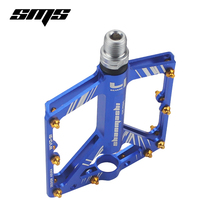 SMS Bicycle Pedals 8 Bearings Wide Non-slip Aviation Aluminum Alloy Bike Pedal Ultra Thin Design  with Shackles