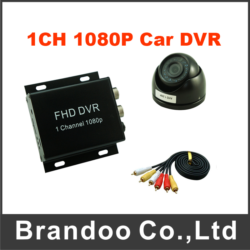 1080P Car Video Recorder 1CH Mobile DVR Kit With 1pcs Dome IR Car Camera For Taxi Vans and 1pcs 5 Meters Video Cable