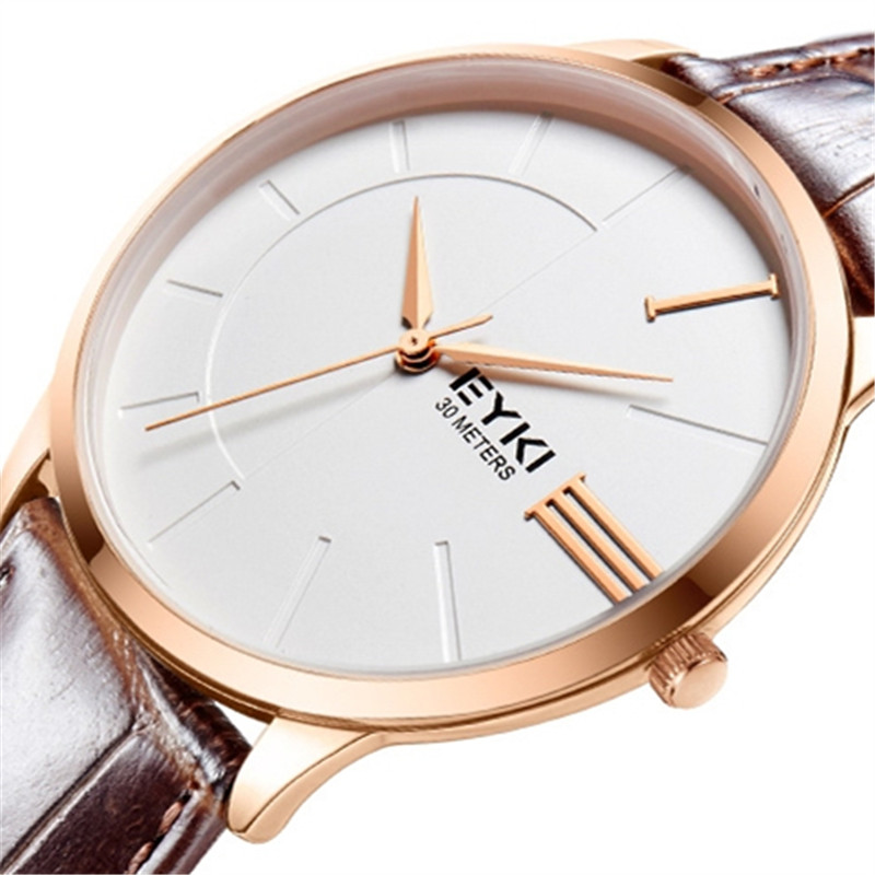Mens Watches 2017 Luxury Brand Fashion Simple Analog Dial Ultra Thin Case Genuine Leather Strap Couple Wristwatches Ladies Watch