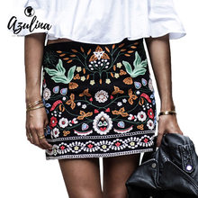 5d3147452369 AZULINA Embroidery Skirt Women Cotton Floral High Waist Black Skirt Casual  Female Short Autumn Vintage Mini Ethnic Boho Skirts