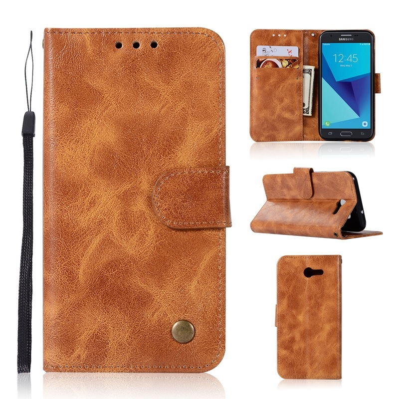 Solque PU Leather Flip Wallet Case For Samsung Galaxy J3 Prime 2017 Cases Retro Vintage Card Holder Stand Phone Cover