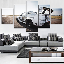 One Set Wall Art Decortive Canvas Print Painting 5 Pieces Toyota White Sports Car Poster Modern Artwork For Bedroom Framework