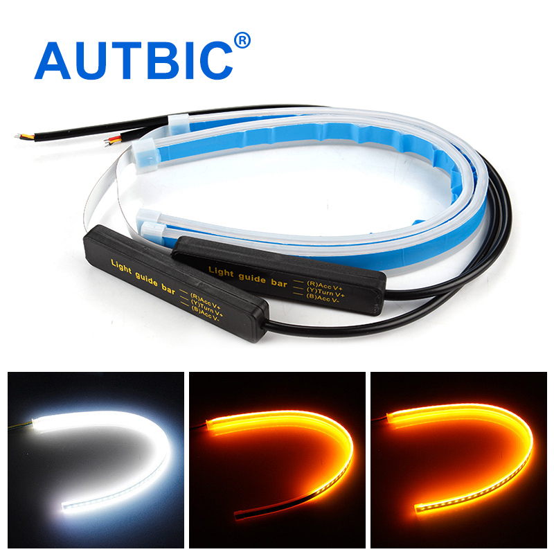 AUTBIC 30cm 45cm 60cm Universal Car DRL LED Strip Flexible Flowing Turn Signal Lights Auto Angel Eyes Daytime Running Lamp(China)
