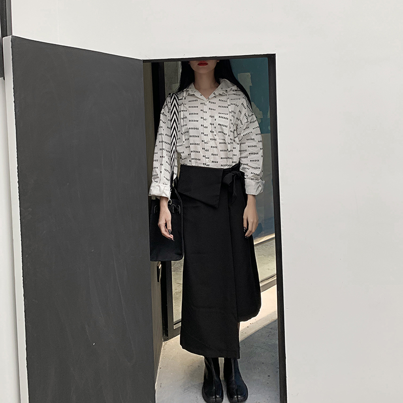 Cintura Getsring Asimetría De Mujer Faldas Irregular Black Falda Las 2019 Nueva Mujeres Casual Vendaje Alta Negro Moda I1qR1wC