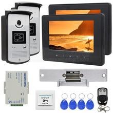 DIYSECUR 800 x 480 7 inch Video Door Phone Home Security Intercom System RFID Camera + Strike Lock