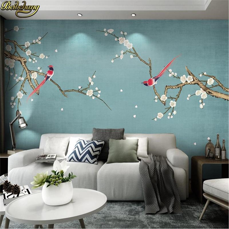 Beibehang Custom Photo Mural Wallpaper Roll Bedroom Living Room Decoration Sofa Background Home Decor 3D Flower Bird Wall Paper