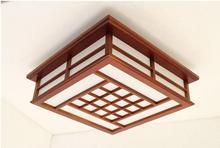 цены на Modern LED Pendant Flush Mount Ceiling Fixtures Light Chinese Solid Wood Mahogany Finish Square LED Ceiling Lamp Warm/White  в интернет-магазинах