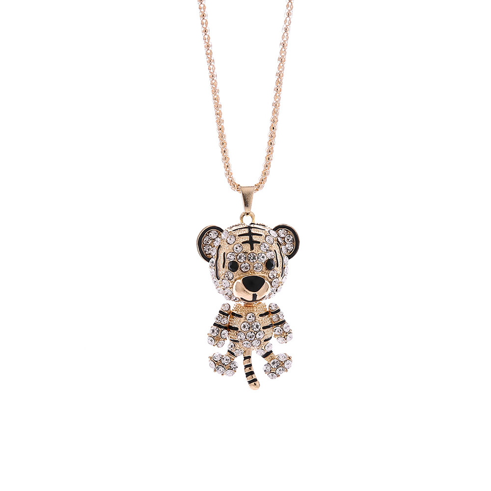 OTOKY 2018 Hot Sale 1pc Fashionable Female Little Tiger Crystal Rhinestone Pendant Sweater Necklace For Gift Dropshipping Apr12