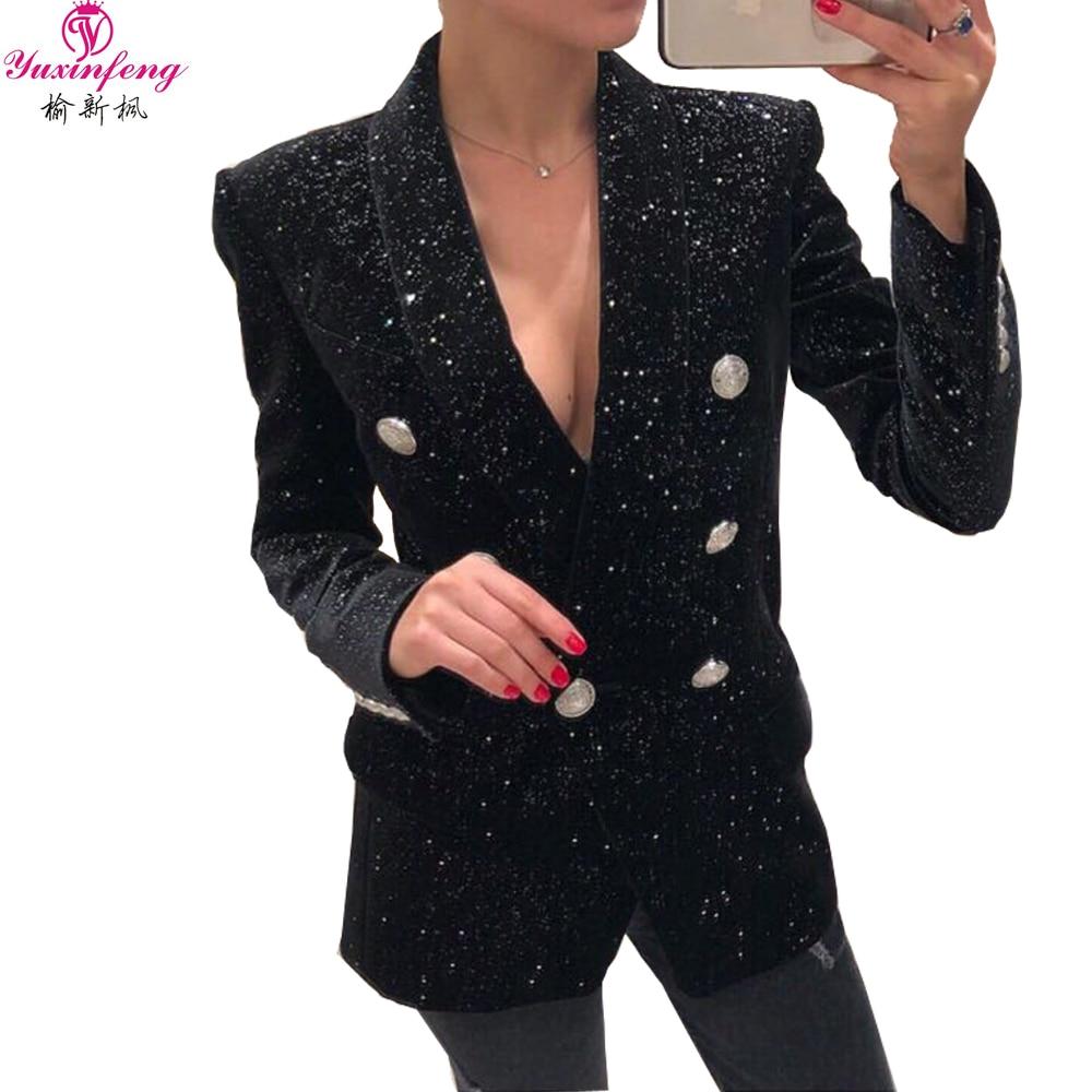 Vestes Piste Femmes Velours Brillant Bouton Femme Yuxinfeng Automne Pailleté Double Boutonnage Blazer Noir D'or Manteau 8n0kXZOPNw